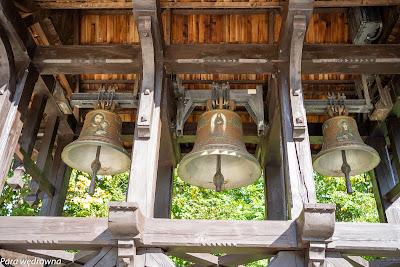 Wizerunki świętych na dzwonach (od lewej): św. Józef, św. Kinga, św. Agata