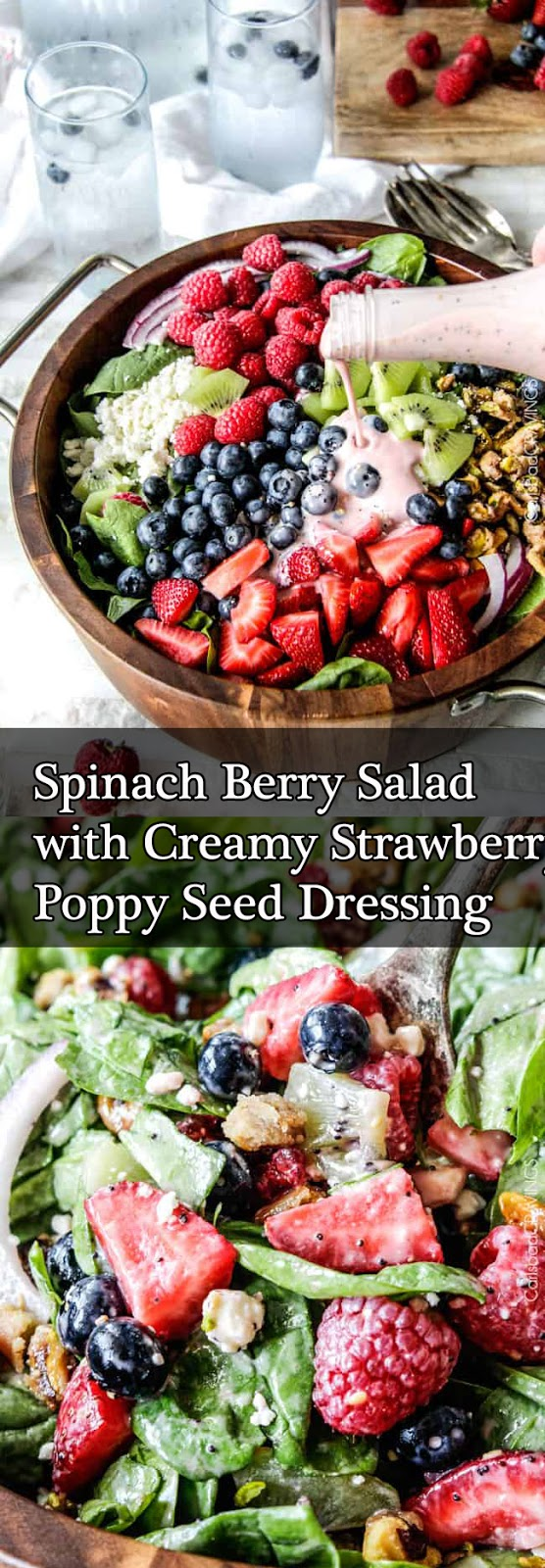 Spinach Berry Salad with Creamy Strawberry Poppy Seed Dressing Recipes