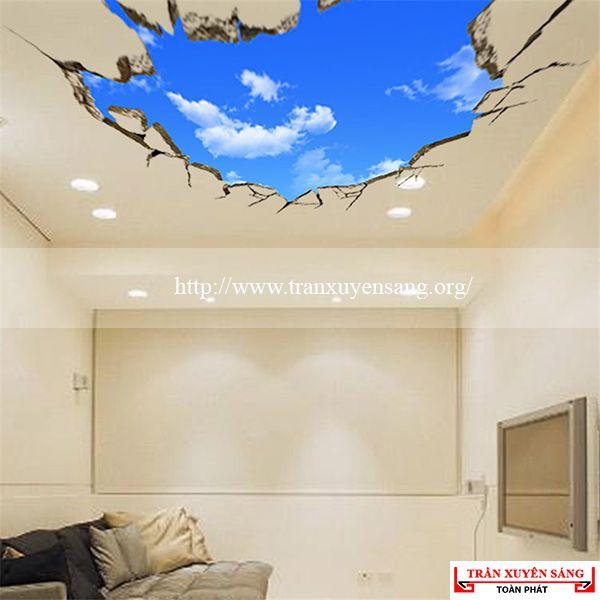 Mẫu trần phòng khách in bầu trời 6
