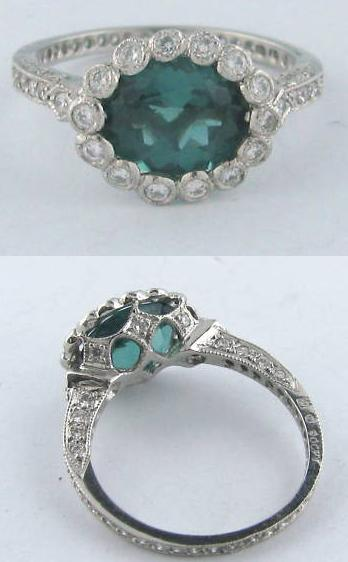 Cathy Waterman platinum, tourmaline, and diamond ring.
