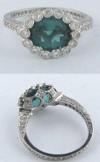 Cathy Waterman platinum, tourmaline, and diamond ring.