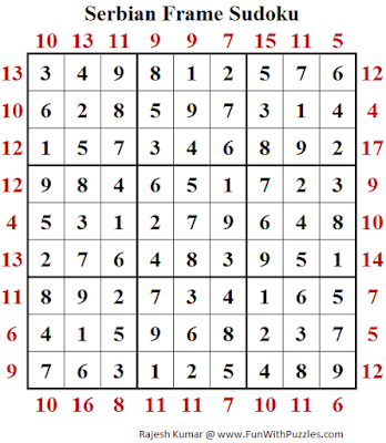 Serbian Frame Sudoku (Fun With Sudoku #185) Puzzle Answer