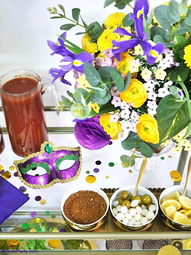 Mardi Gras Décorations DIY  + Recette Cocktail Bloody Mary  - DIYs facile et décoration + un délicieux cocktail à servir lors d'une fête ou apéro! by BirdsParty.com @birdsparty #mardigars #cocktail #carnaval #decorationsmardigras #decorationscarnaval