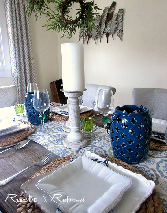Blue and white table for entertaining