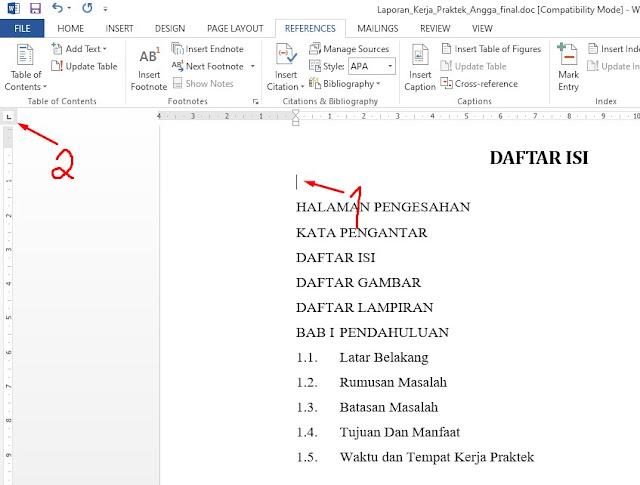 contoh daftar isi skripsi manual ms word