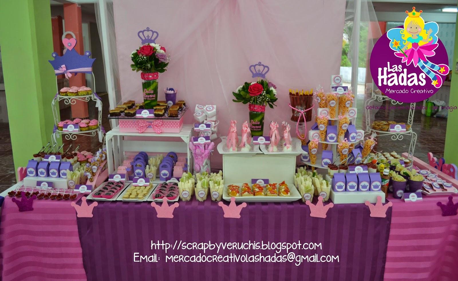 Scrapbyveruchis baby shower princesa corona for Como decorar mesa de postres para baby shower