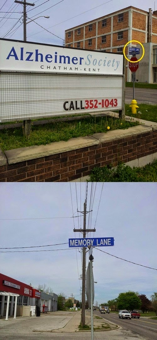 Funny Alzheimer Society Memory Lane Sign Fail Joke Picture