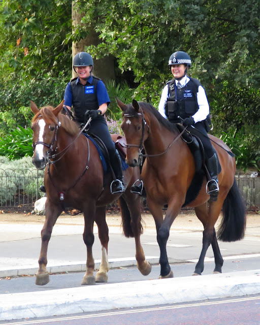 Mounted police officers, West Carriage Drive, Hyde Park, London  border=