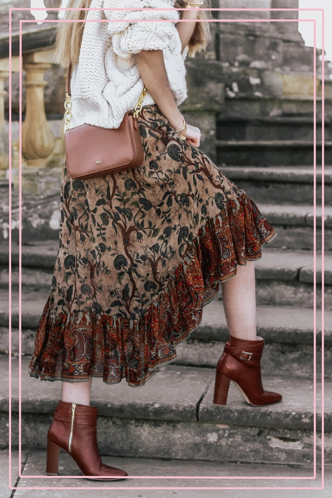 Fashion Blog Zara Frilled Brown Floral Midi Skirt