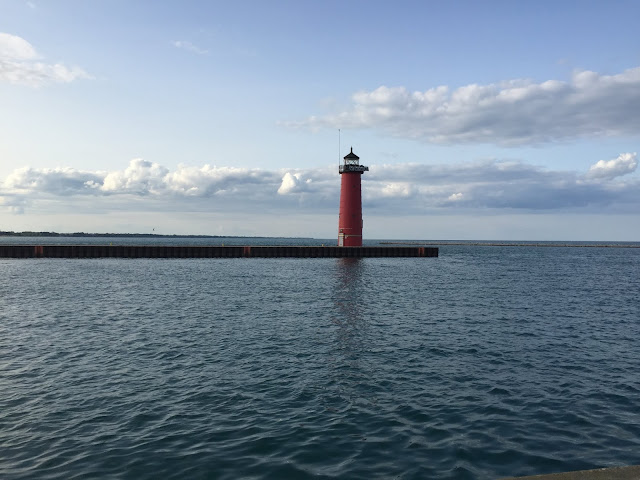 Lovely views of the lighthouse on Lake Michigan in Kenosha, WI