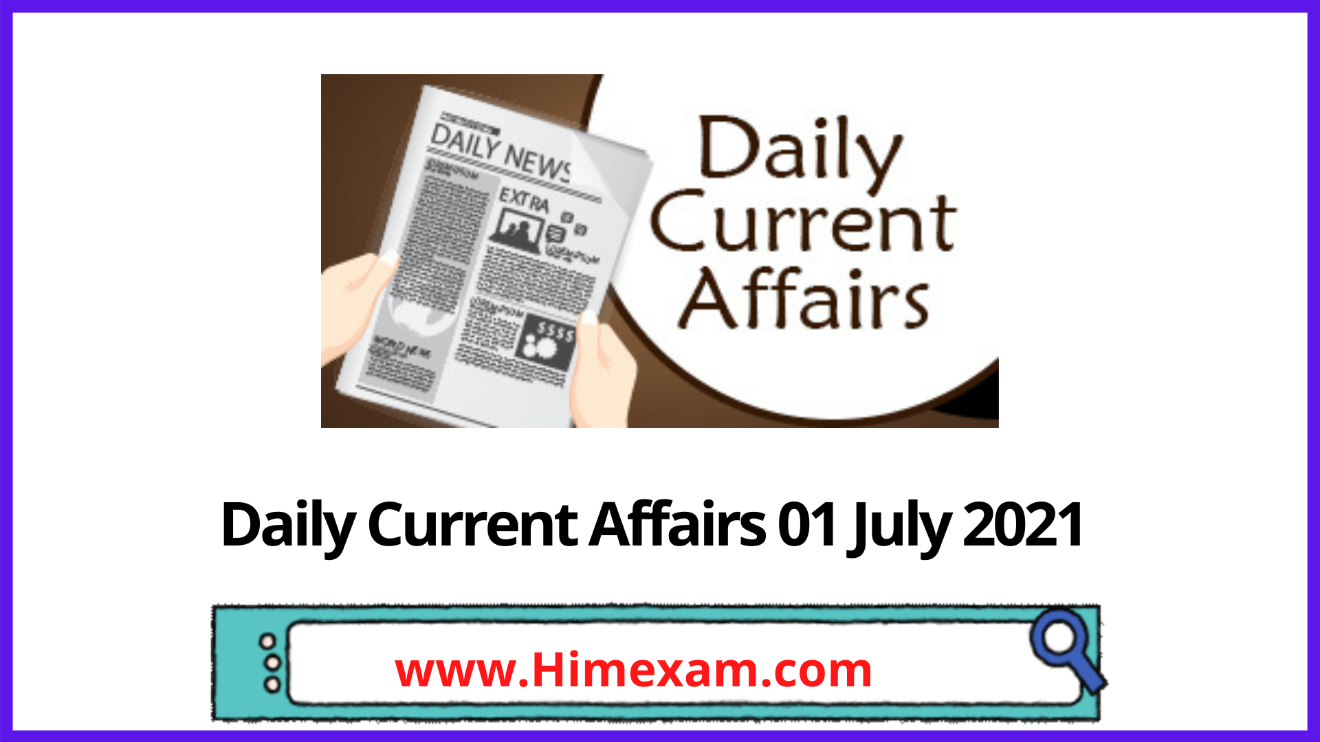 Daily Current Affairs 01 July 2021 In Hindi