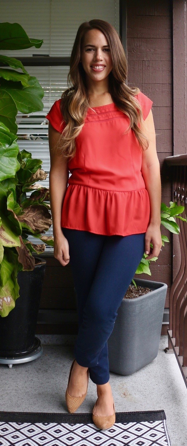 Jules in Flats - Peplum Blouse Outfit for Work