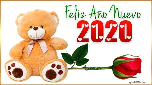 peluche con rosa feliz año 2020