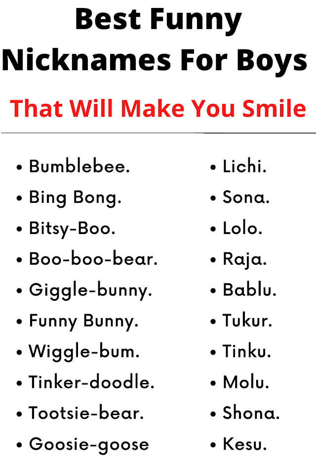 100 Best Funny Nicknames For Boys That Will Make You Smile