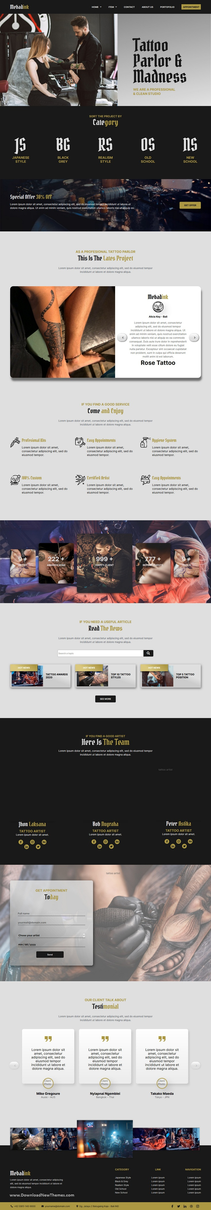Tattoo and Piercing Studio Elementor Template Kit