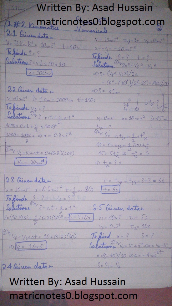 Matric 9th Physics Notes Chapter 2 Numerical Asad Hussain