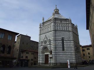 Pistoia's octagonal Battistero di San Giovanni in the Tuscan city's medieval centre