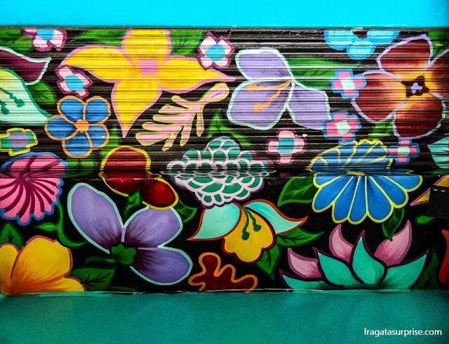 Grafite em uma fachada de La Condesa, Cidade do México