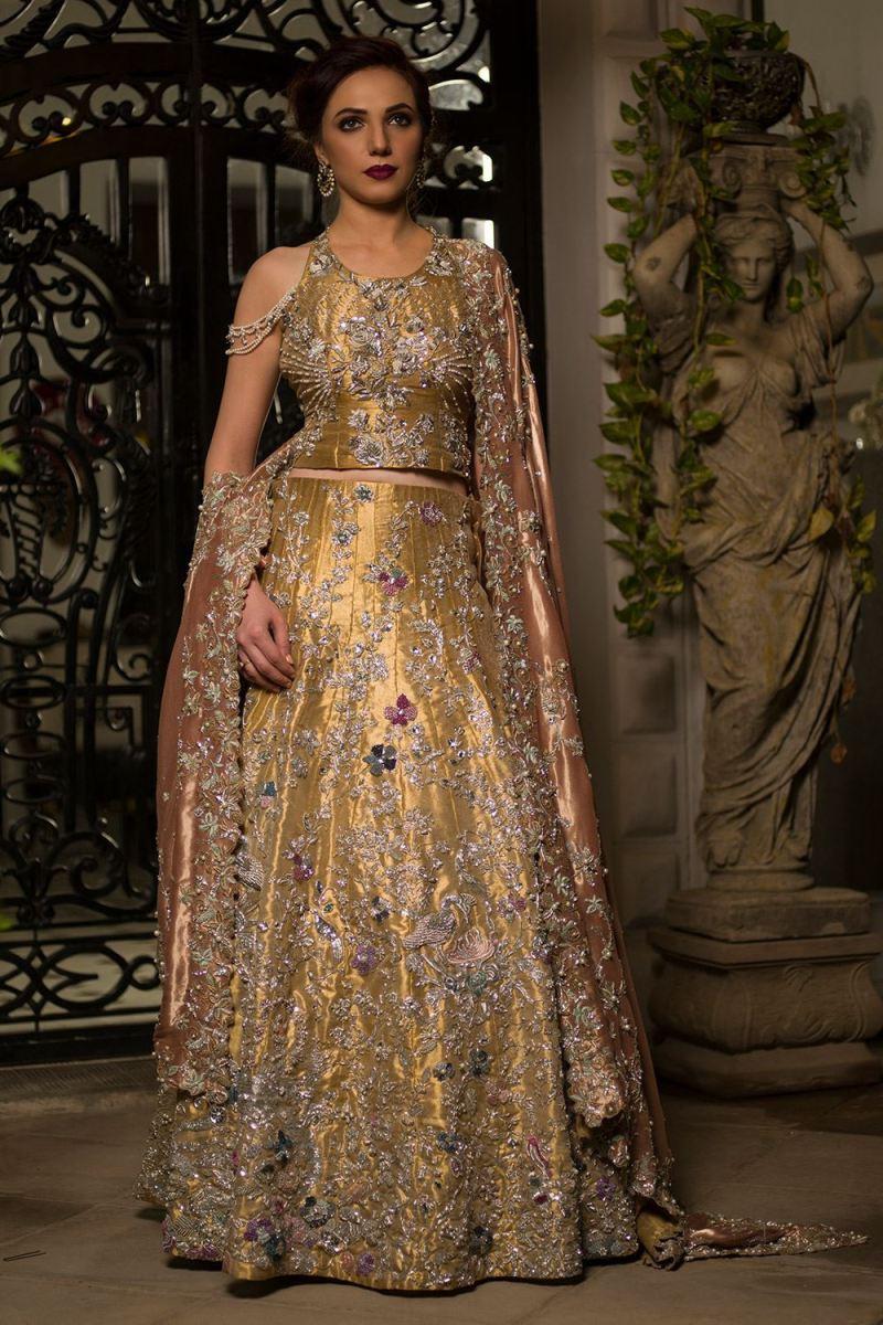 Regal Beautiful gold regal bridal dress by Nida Azwer Barat dresses online