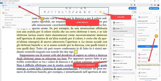 aggiungere commenti e altra grafica ai PDF