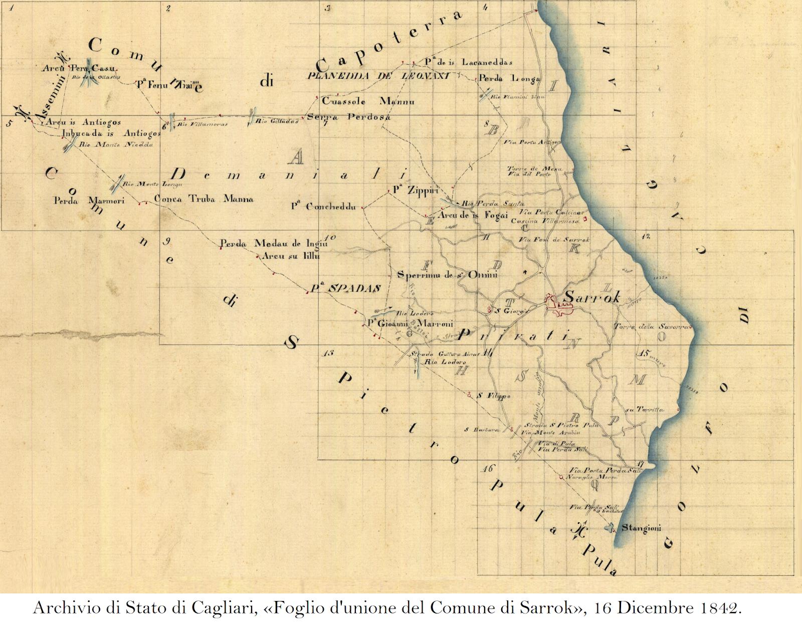 Cartina Antica Sardegna.La Mappa Del Territorio Di Sarroch Del 1842