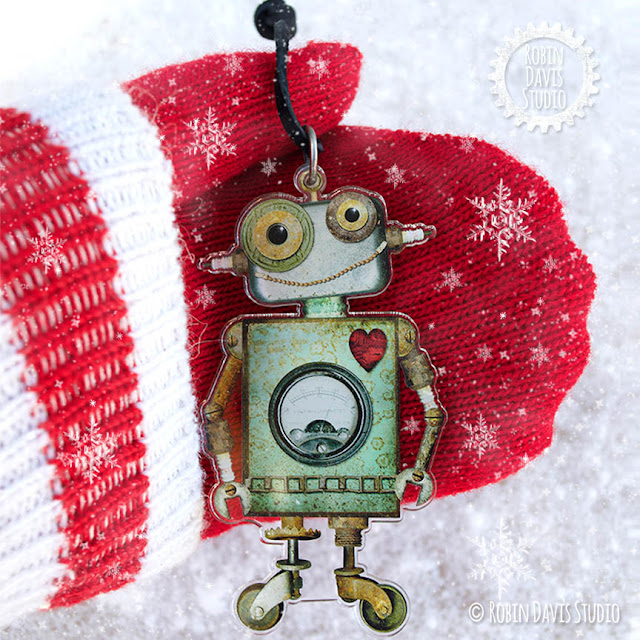 Robot Ornaments on Leather by Robin Davis Studio