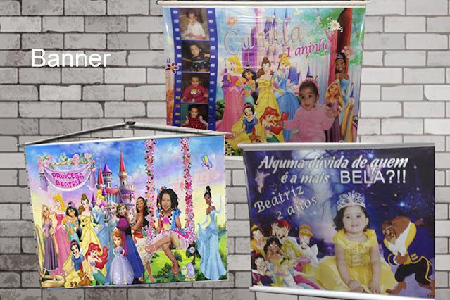 Banner As Princesas  Disney dicas e ideias para decoração de festa personalizados
