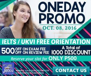JROOZ FREE IELTS/IELTS UKVI Open House. Join us on October 8, 2016. Know the basics of IELTS and IELTS UKVI. GET 1000 OFF!