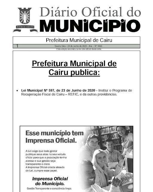 Prefeitura de Cairu institui o REFIC 2020 para retirar até 100% de multas e juros dos contribuintes