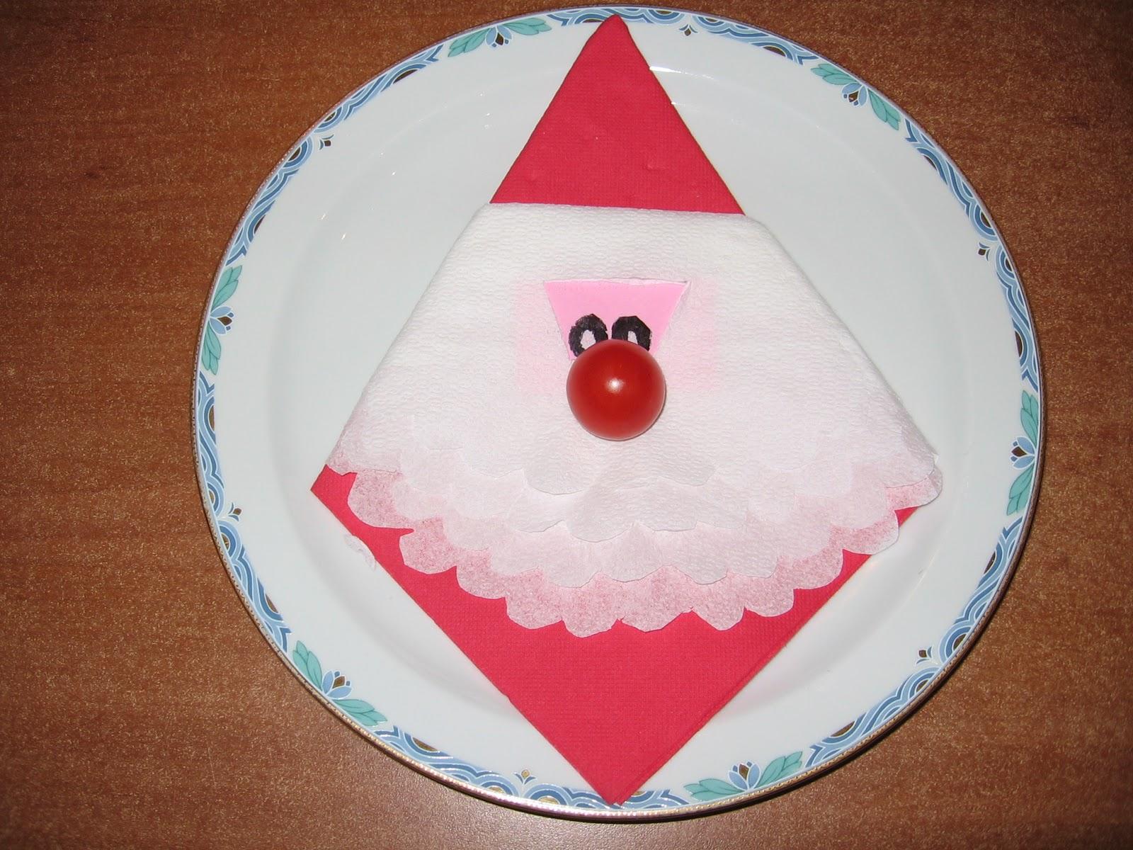 Piegare Tovaglioli Carta Natale dalla a allo zucchero: il tovagliolo di babbo natale