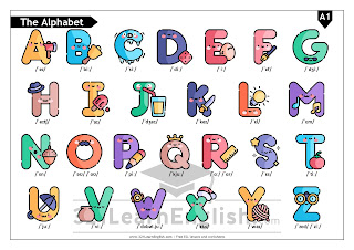 Learning to pronounce de English alphabet with cute letters - free handout to print - 321LearnEnglish.com