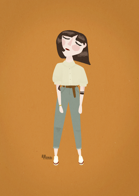 it girl albadelaherran wes anderson illustration color