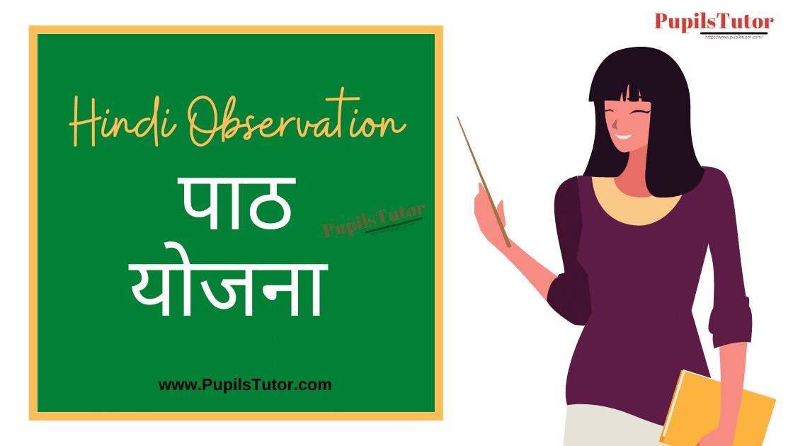 Hindi Observation Lesson Plan for B.Ed/DELED | ऑब्जरवेशन पाठ योजना | Observation Lesson Plan Hindi For B.Ed