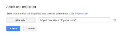 Añadir dirección web de blog en Google webmaster tools