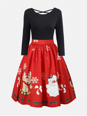 Plus Size Christmas Criss Cross Print Dress