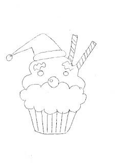 risco de cupcake papai noel para pintar