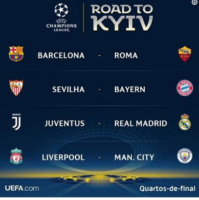 Assistir Jogos das quartas de final da Liga dos Campeões 2018