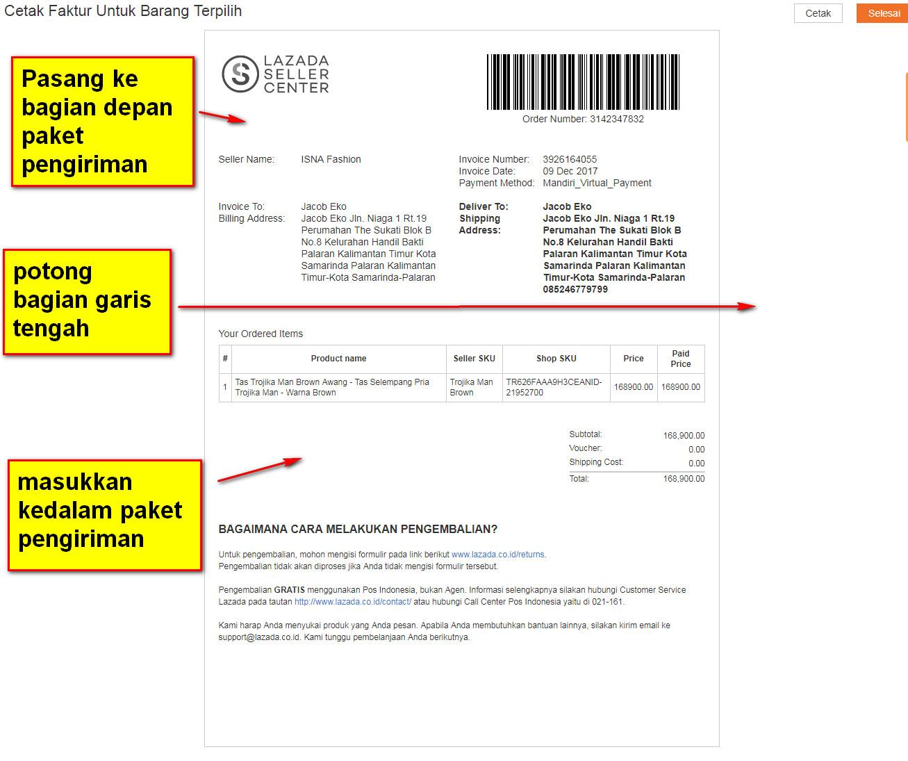 Cara Cetak Invoice Orderan Penjualan Di Lazada Cemiti