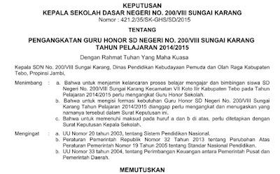 Download SK Pengangkatan Guru Honorer Kemdikbud Tahun 2016/2017