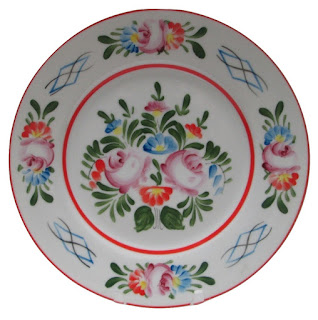 Hungarian Floral China Plate orange blue green