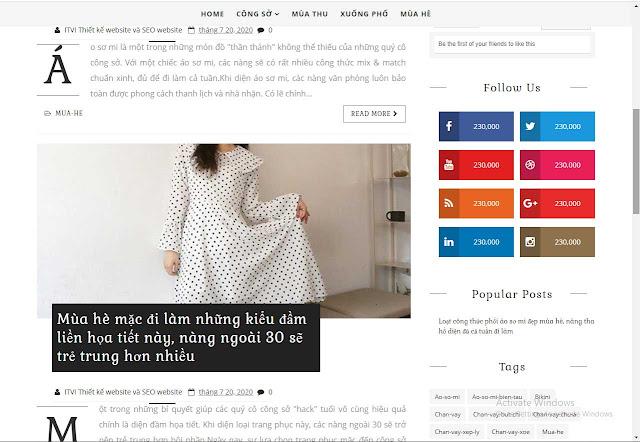 Mẫu webite thời trang Lily