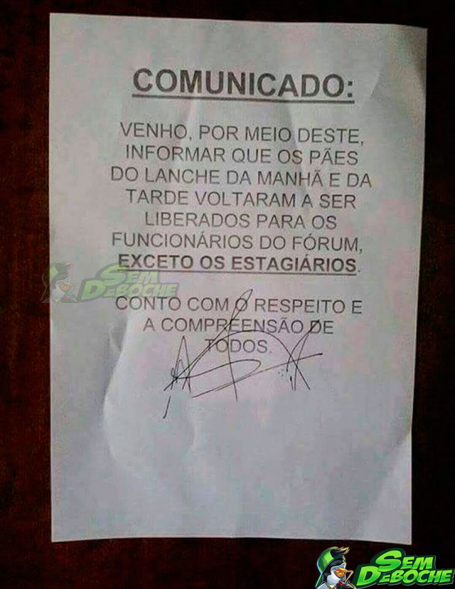 ESTAGIÁRIO NEM É GENTE