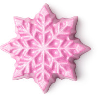 A pink snowflake shaped massage bar on a bright background
