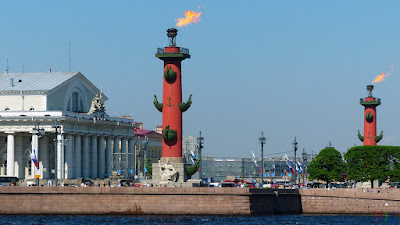 rostral columns on the Exchange Square in front of the Exchange building on the spit of Vasilyevsky Island