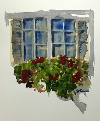 Window Flower Box - Watercolor - Cembranelli Inspired - JKeese