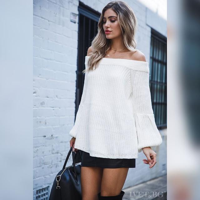 Μοντέρνο γυναικείο άσπρο πουλόβερ AIZA