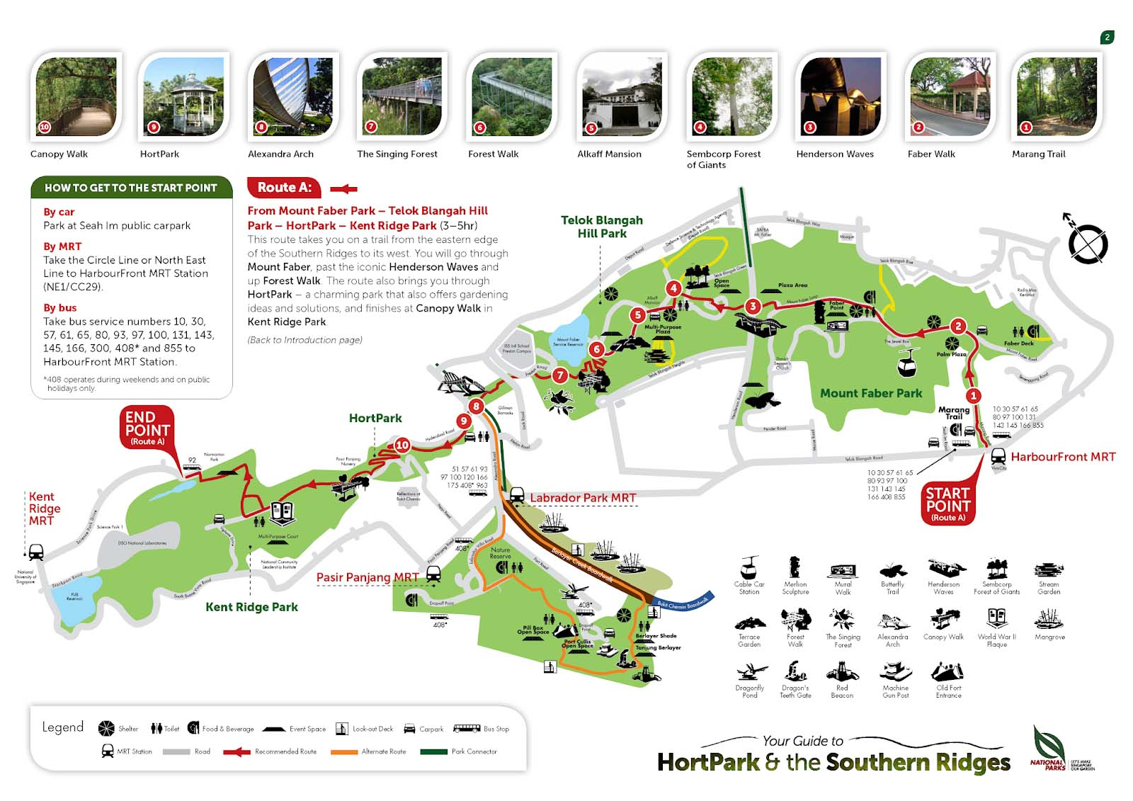 Southern Ridges - Getting there. Map, Bus. Attractions ...