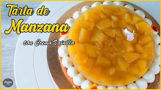 🥧TARTA de MANZANA con Crema de Vainilla 😋