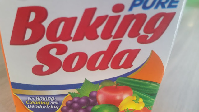 A colorful box labelled with baking soda