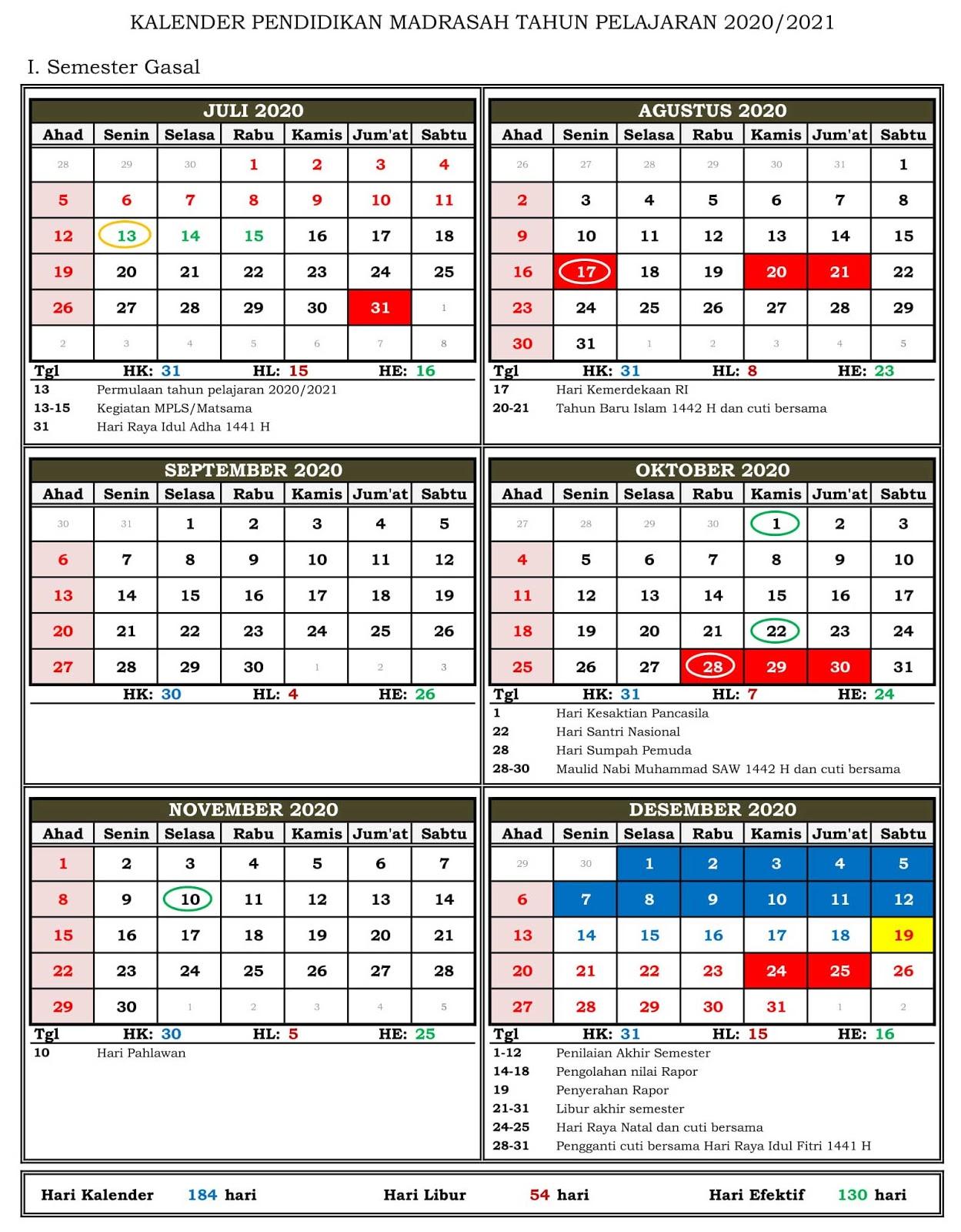 Download Kalender Pendidikan Madrasah 2020/2021 Provinsi ...